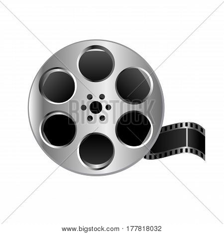 Illustration Realistic Metal Textured Film Reel Video On White Background