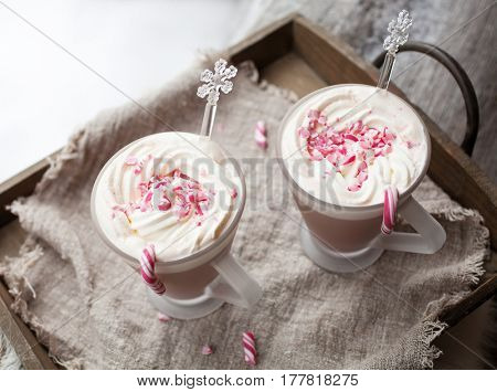 Hot Chocolate with cream and crushed candy canes