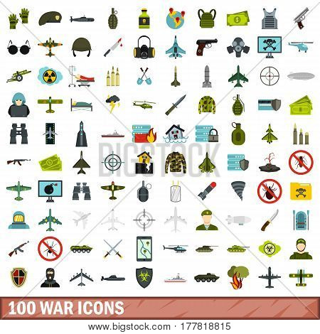 100 war icons set in flat style for any design vector illustration