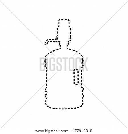 Plastic bottle silhouette with water and siphon. Vector. Black dashed icon on white background. Isolated.