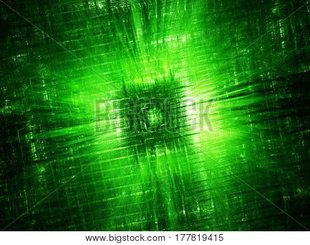 Green glowing hardware component fractal computer generated abstract background 3D rendering