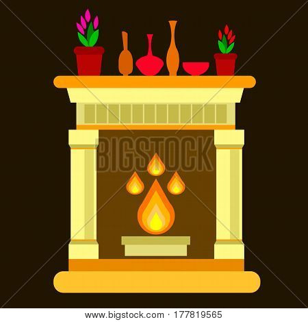 fireplace, home, vector, fire, interior, illustration, decoration
