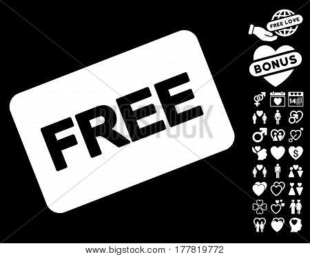Free Card icon with bonus love clip art. Vector illustration style is flat iconic white symbols on black background.