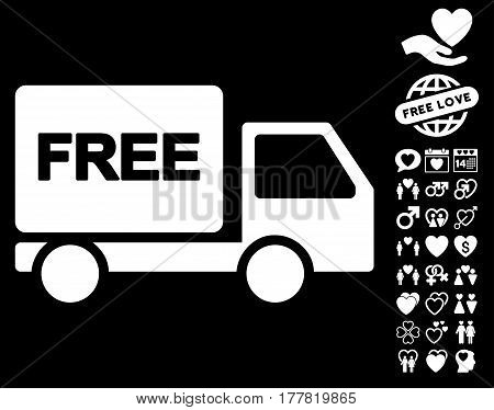 Free Delivery pictograph with bonus amour images. Vector illustration style is flat iconic white symbols on black background.