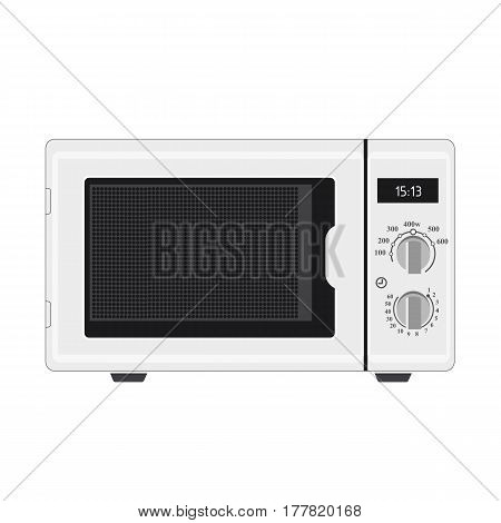 Illustration Realistic White Microwave On White Background
