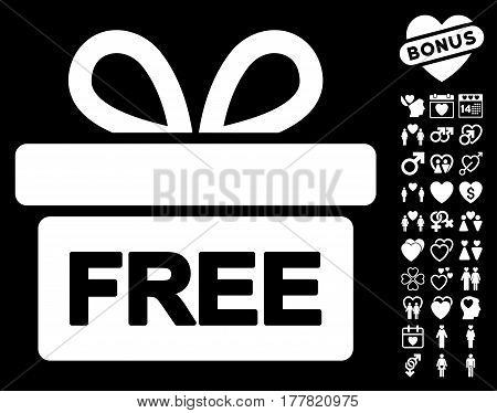 Gift icon with bonus marriage pictograms. Vector illustration style is flat iconic white symbols on black background.