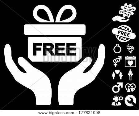 Give Present pictograph with bonus lovely pictures. Vector illustration style is flat iconic white symbols on black background.