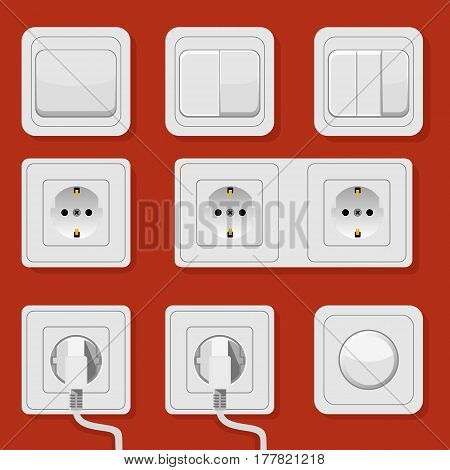 Illustration Set Of Realistic Electric Switches And Sockets On Black Background