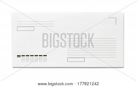 Blank envelope isolated, with place for text, front view