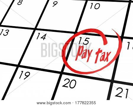 Pay Tax Word On Calendar