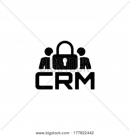 CRM Security Icon. Business and Finance. Isolated Illustration