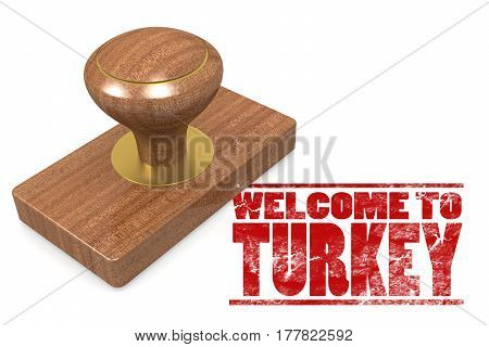 Red Rubber Stamp With Welcome To Turkey