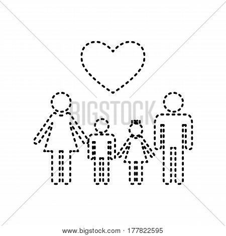 Family symbol with heart. Husband and wife are kept children's hands. Vector. Black dashed icon on white background. Isolated.