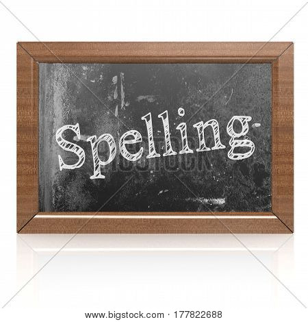 Spelling word written on blackboard 3D rendering