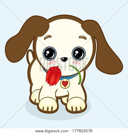 Cute puppy with expressive eyes and big ears holds a tulip in his mouth. Little dog icon. Vet or pet shop symbol; 2018 year. Simple cartoon illustration.