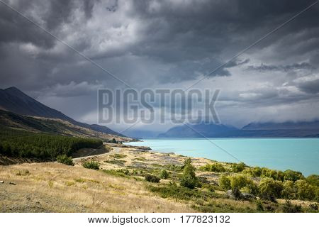 An image of the turquoise Lake Pukaki in New Zealand