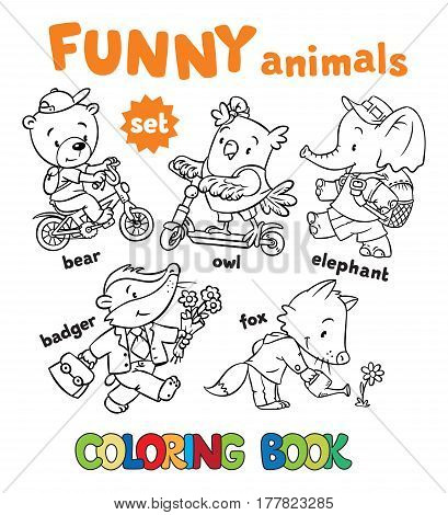 Coloring book set of funny baby animals, bear on bicycle, badger with bag, owl on scooter, elephant with backpack and fox watering flower. Children vector illustration