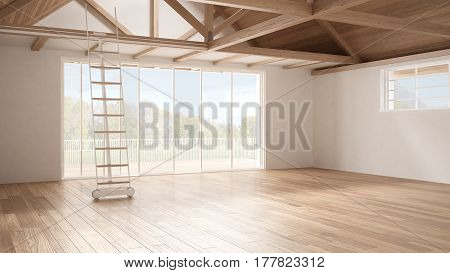Minimalist Mezzanine Loft, Empty Industrial Space, Wooden Roofing And Parquet Floor, Scandinavian Cl