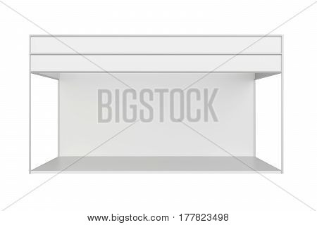 White creative exhibition stand design. Booth template. Corporate identity. 3d rendering