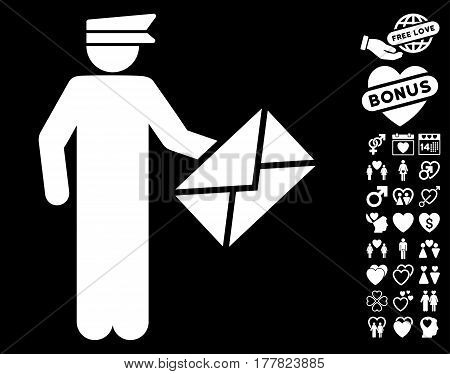 Postman icon with bonus passion graphic icons. Vector illustration style is flat iconic white symbols on black background.