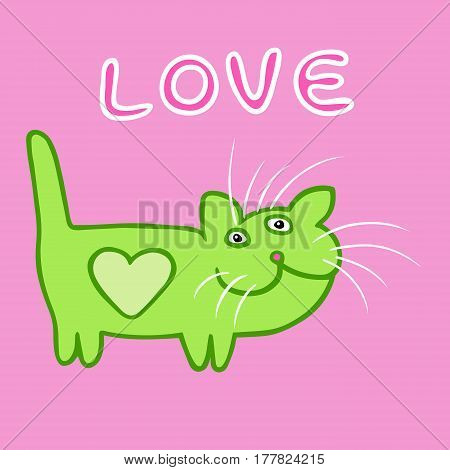 Green Cat Love Emoticon. Funny Cartoon Cool Character. Contour Freehand Digital Drawing Cute Pet. Pink Color Background. Cheerful Pet for Web Icons and Shirts. Pictures for Kids. Isolated Vector Illustration.
