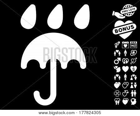 Rain Protection pictograph with bonus love symbols. Vector illustration style is flat iconic white symbols on black background.