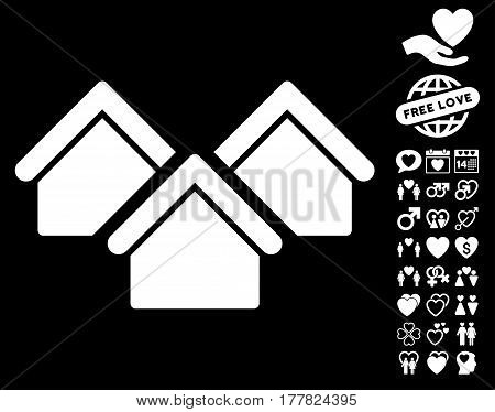Real Estate icon with bonus romantic pictures. Vector illustration style is flat iconic white symbols on black background.