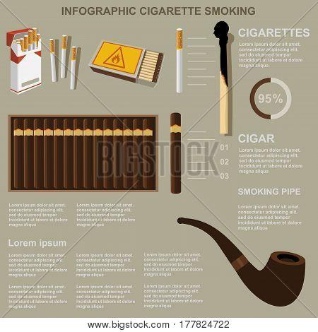 Infographic Cigarette Smoking, Flat Design, Vector, Template
