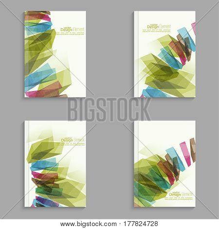 Set Magazine Cover with colored crystals, trellis structure. For book, brochure, flyer, poster, booklet, leaflet, postcard, business card annual report abstract background vector