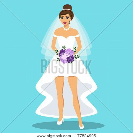 Wedding card with the bride on a blue background. Bride. Bride in wedding dress with a bouquet. Clothing. Vector illustration.