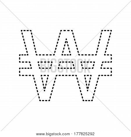 Won sign. Vector. Black dashed icon on white background. Isolated.