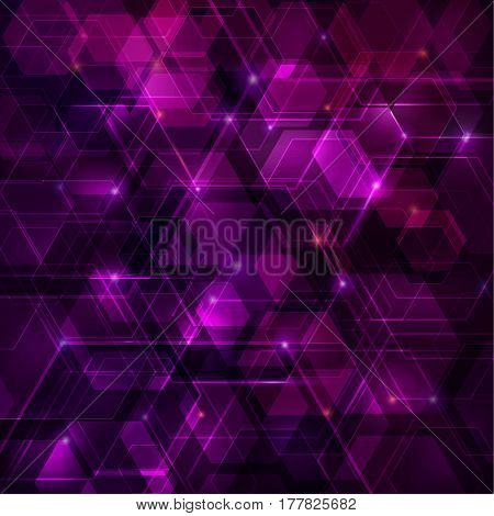 Purple abstract techno background with hexagons and glowing sparks