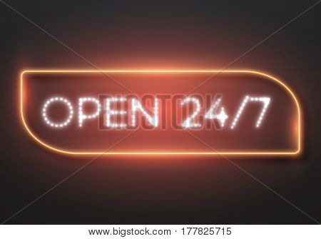 Illustration of Vector Neon Sign. Open 24 Hours Glowing Neon Frame. 24 7 Retro Neon Sign