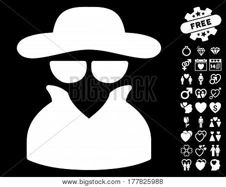 Spy icon with bonus love pictograms. Vector illustration style is flat iconic white symbols on black background.