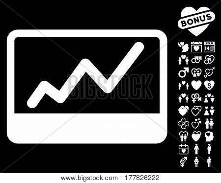 Stock Market icon with bonus decorative clip art. Vector illustration style is flat iconic white symbols on black background.