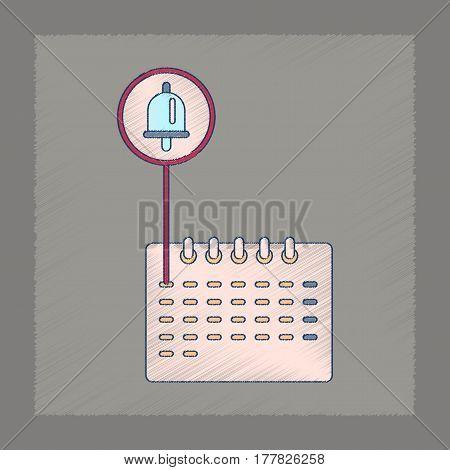 flat shading style icon of school calendar