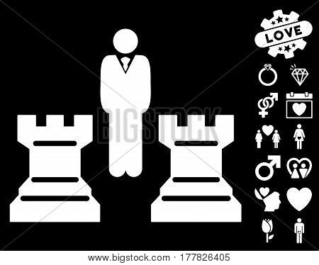 Strategy Chess Towers pictograph with bonus amour images. Vector illustration style is flat iconic white symbols on black background.