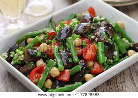 three bean salad,scarlet runner bean,green bean,chickpea