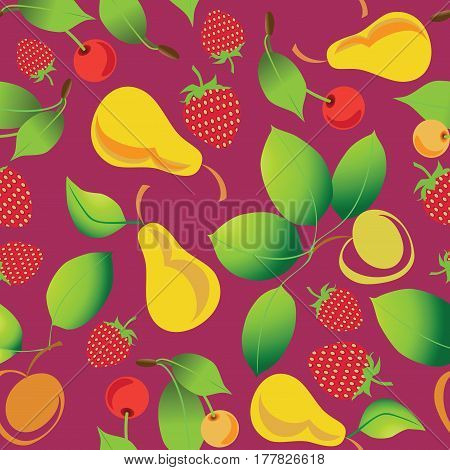 Ripe berries and fruits. Seamless pattern on maroon background. Design for textile, background theme site, poster. Design for food industry, farm products. The concept for the packaging.