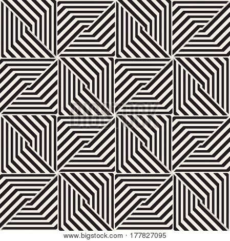 Repeating Geometric Stripes Tiling. Ornamental Stylish Texture. Vector Seamless Monochrome Pattern