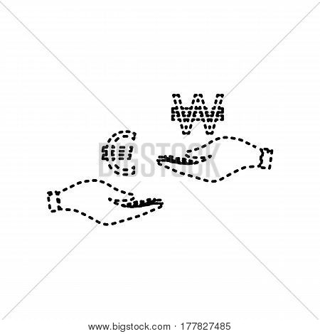 Currency exchange from hand to hand. Euro and Won. Vector. Black dashed icon on white background. Isolated.