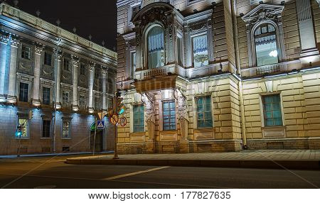 Mansion JF Gromov Kantemirovsky Palace and the Marble Palace - Constantine Palace on the corner of a narrow and short lane with Marble Palace Embankment