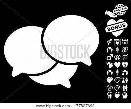 Webinar pictograph with bonus lovely clip art. Vector illustration style is flat iconic white symbols on black background.