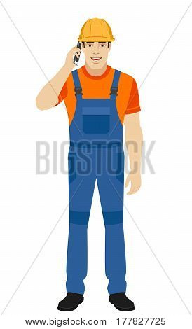 Builder talking on the mobile phone. Full length portrait of builder in a flat style. Vector illustration.