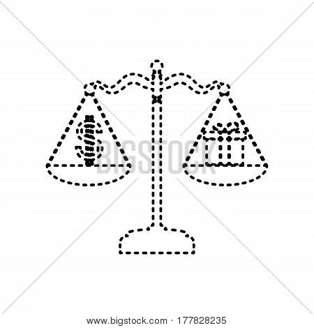Gift and dollar symbol on scales. Vector. Black dashed icon on white background. Isolated.