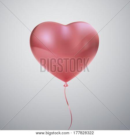 Balloon Heart. Vector holiday illustration of flying pink balloon heart. Happy Valentines Day. Festive wedding decoration