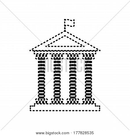 Historical building with flag. Vector. Black dashed icon on white background. Isolated.