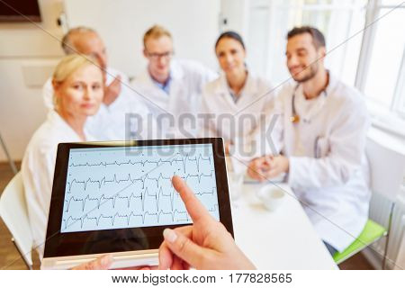 Heart rate discussion with ECG findings in doctors meeting