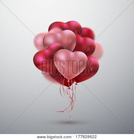 Balloon Hearts. Vector holiday illustration of flying bunch of red and pink balloon hearts. Happy Valentines Day. Festive wedding decoration