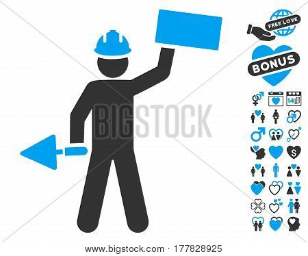 Builder With Brick icon with bonus love pictograms. Vector illustration style is flat iconic blue and gray symbols on white background.